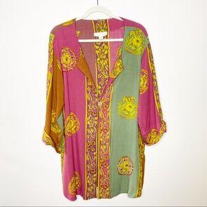 Soft Surroundings Batik Beaded Tunic Cardigan M